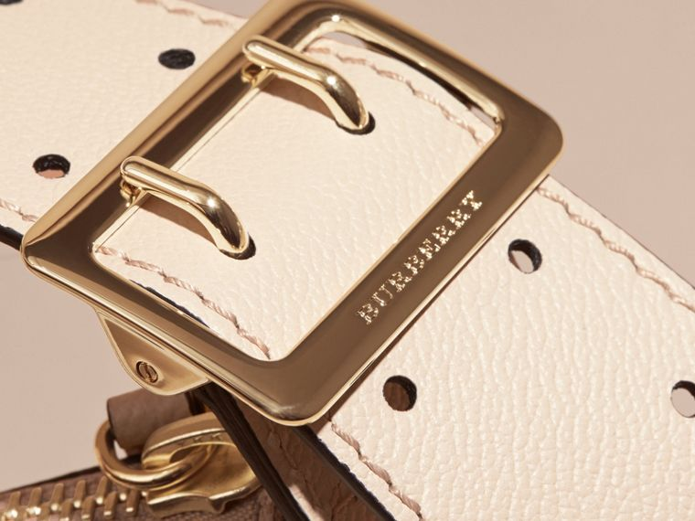 Buckle Detail Leather and House Check Crossbody Bag in Limestone - Women | Burberry - cell image 1
