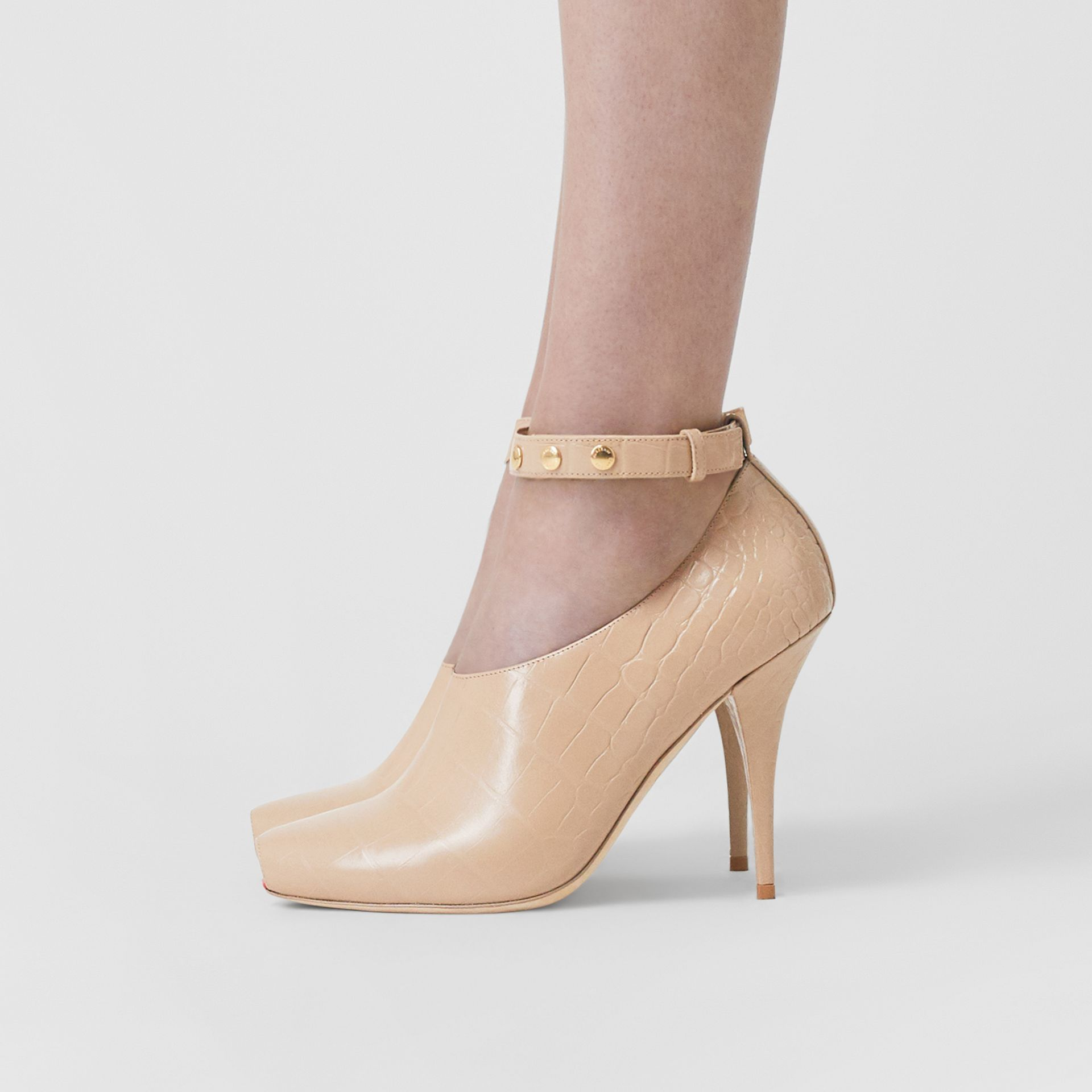 Embossed Leather Peep-toe Pumps in Driftwood - Women | Burberry - gallery image 2