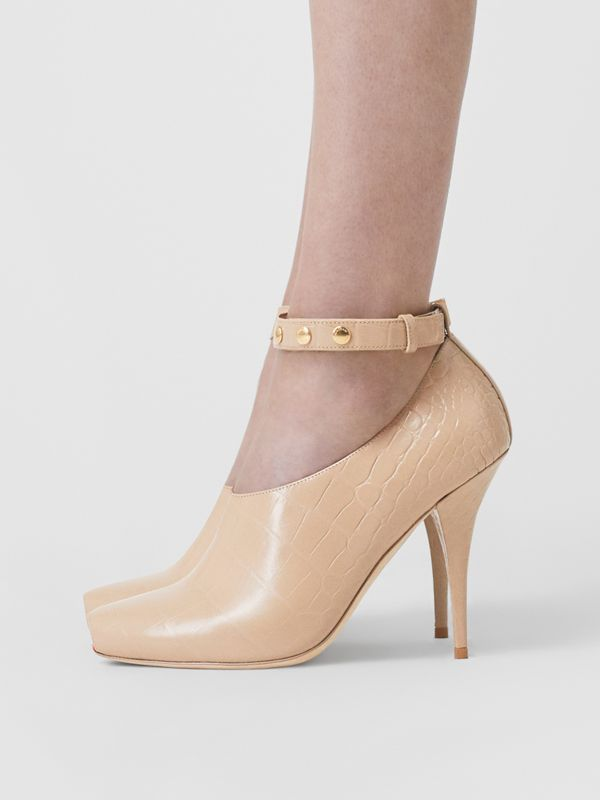 Embossed Leather Peep-toe Pumps in Driftwood - Women | Burberry - cell image 2
