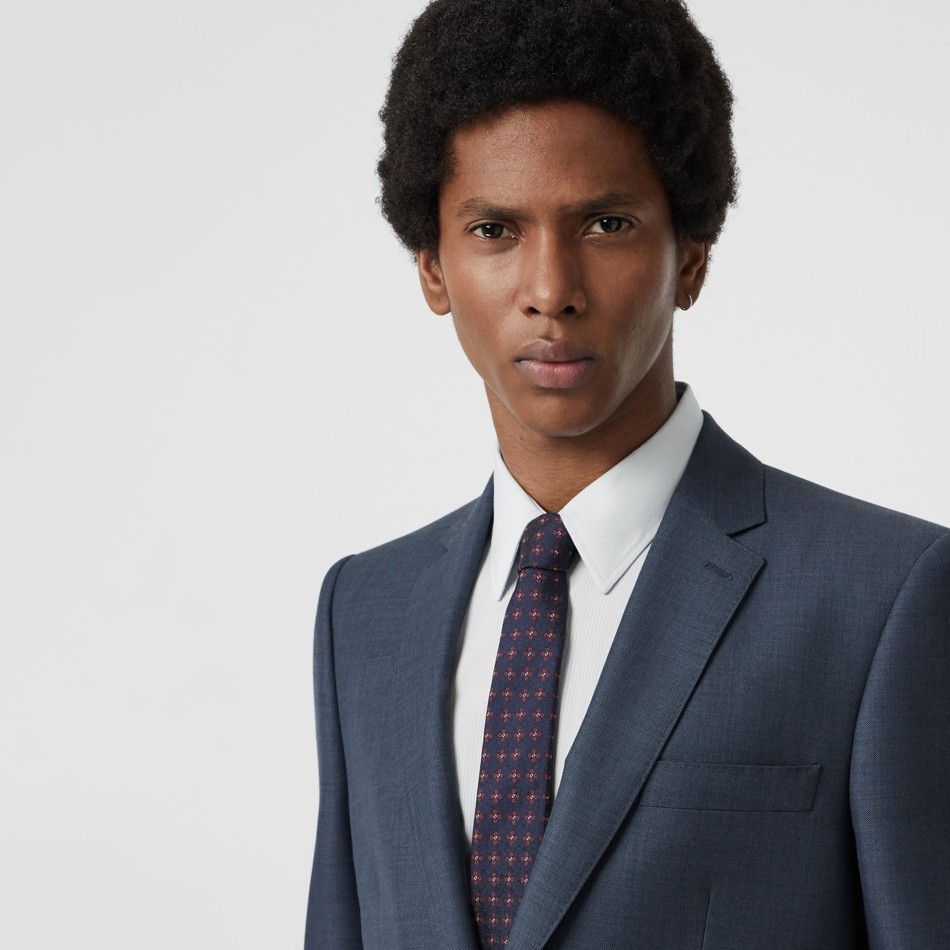 Classic Fit Wool Mohair Silk Suit in Steel Blue - Men | Burberry United States - gallery image 1