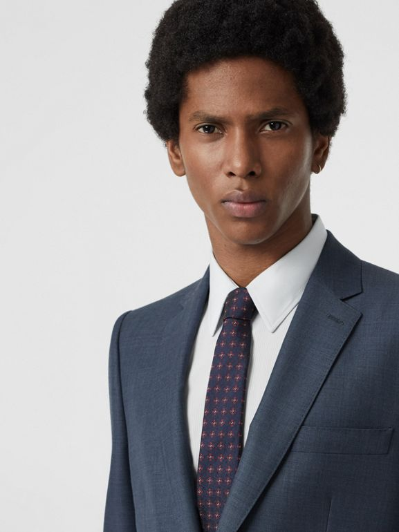 Classic Fit Wool Mohair Silk Suit in Steel Blue - Men | Burberry United States - cell image 1