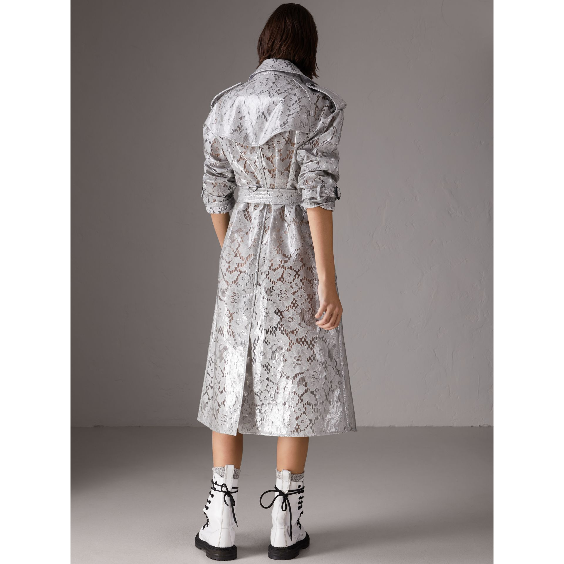 Laminated Lace Trench Coat in Pale Grey - Women | Burberry - gallery image 2