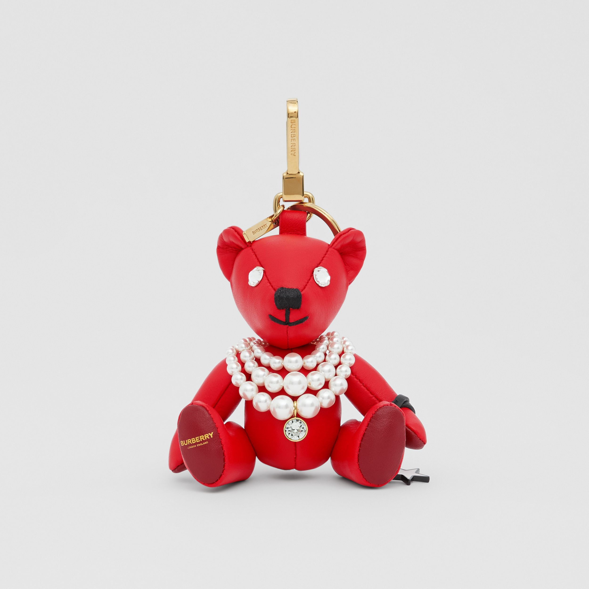 Thomas Bear Charm in Resin Pearl Necklace in Red | Burberry - 3