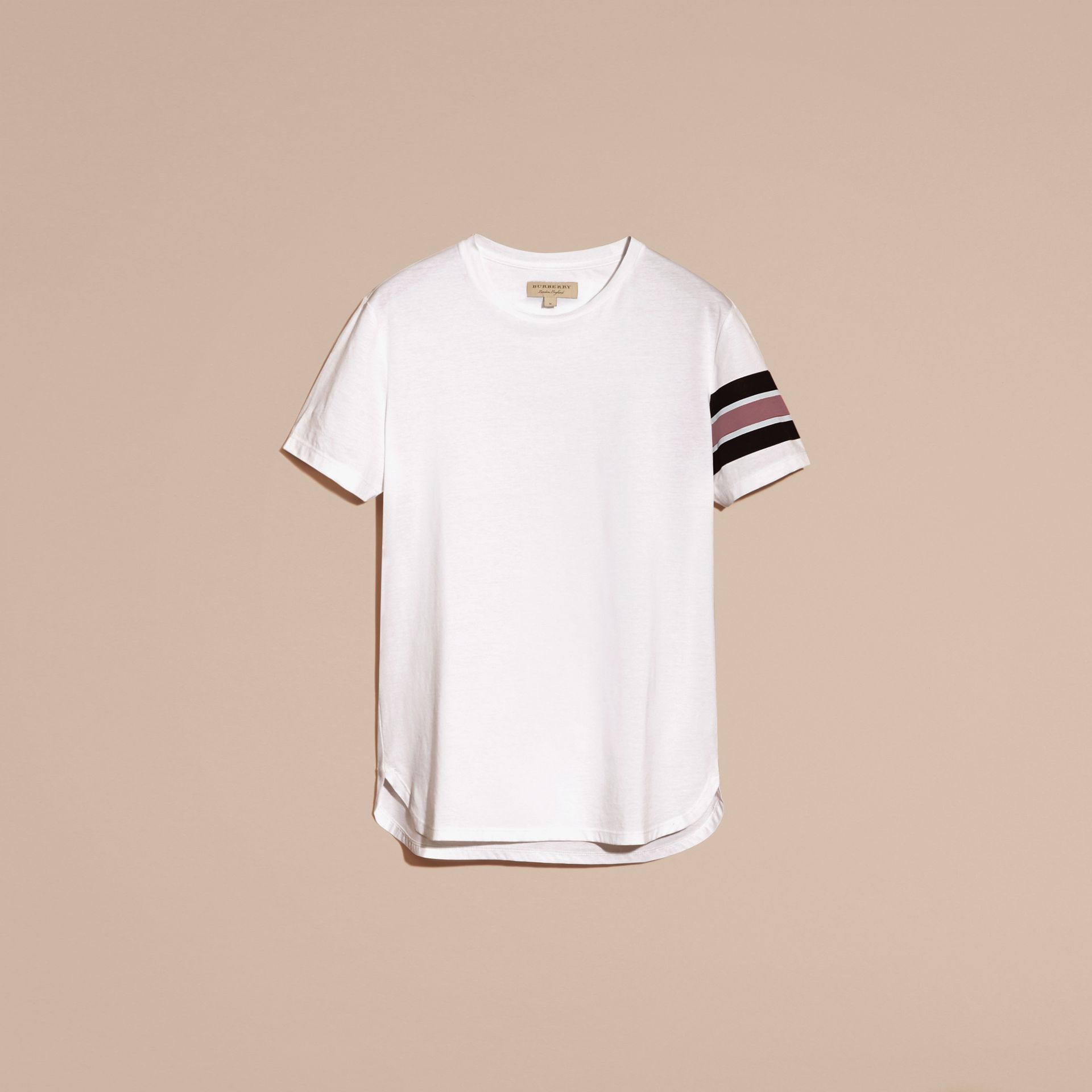 White Cotton T-shirt with Regimental Detail - gallery image 4