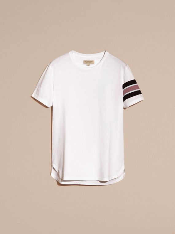 White Cotton T-shirt with Regimental Detail - cell image 3