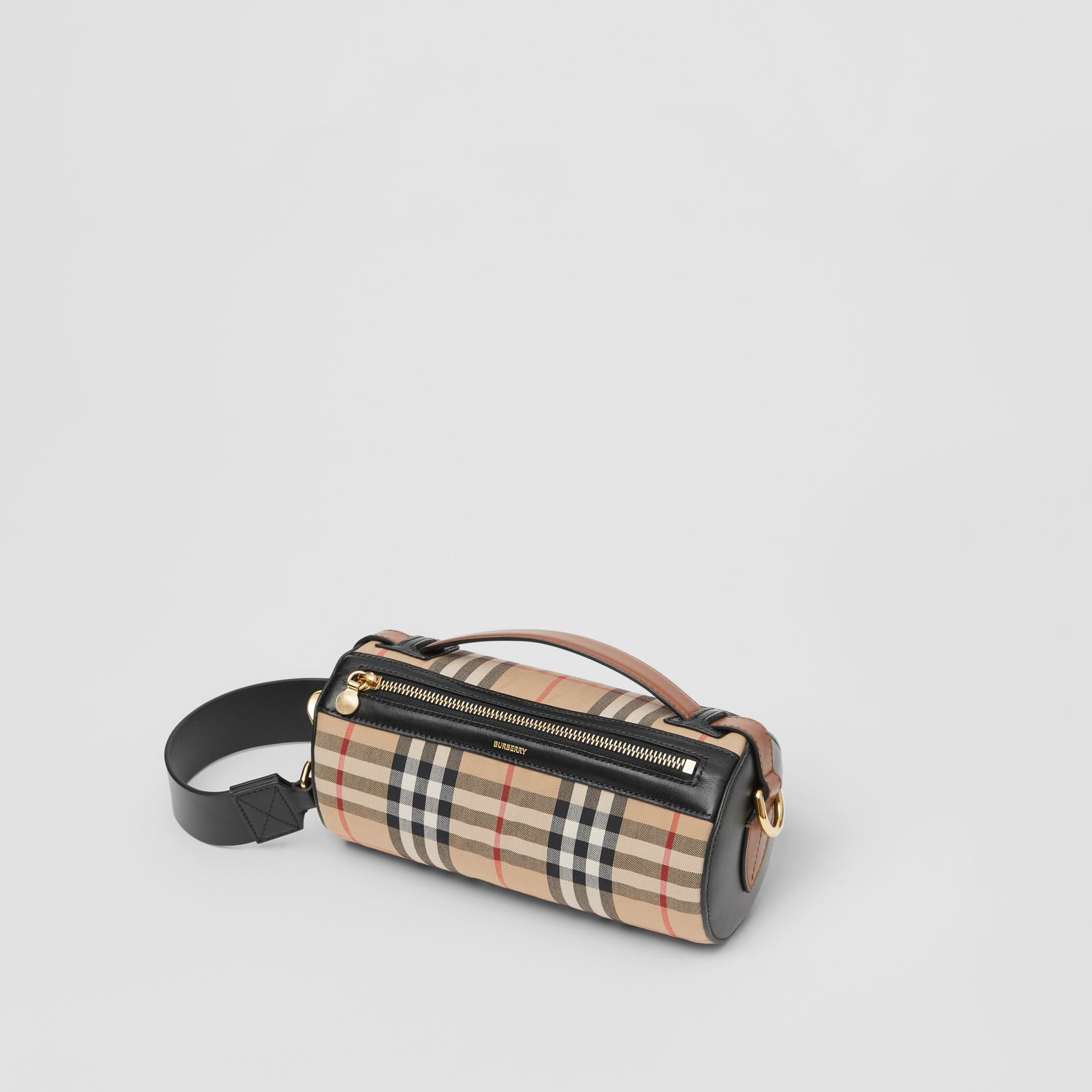 The Vintage Check and Leather Barrel Bag in Archive Beige/black - Women | Burberry United Kingdom - gallery image 3