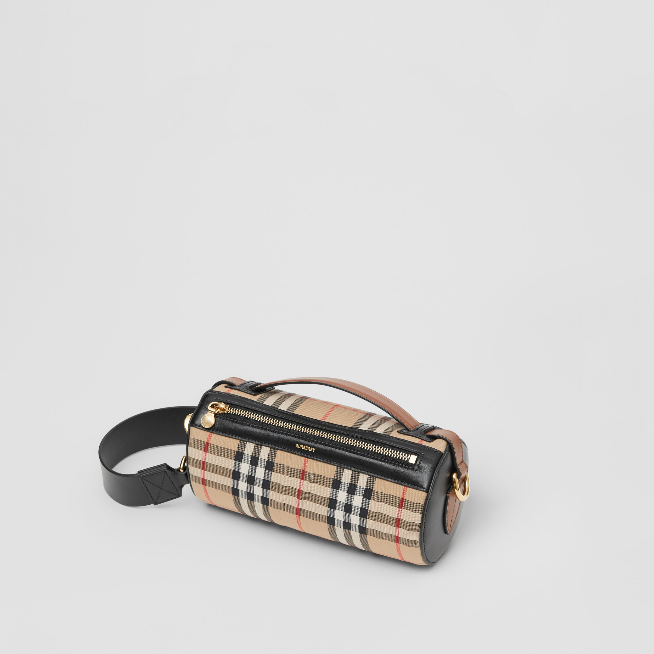 Borsa The Barrel con motivo Vintage check e finiture in pelle (Beige Archivio/nero) - Donna | Burberry - 4