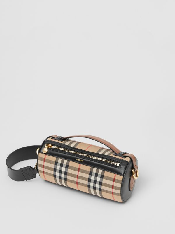 The Vintage Check and Leather Barrel Bag in Archive Beige/black - Women | Burberry United Kingdom - cell image 3
