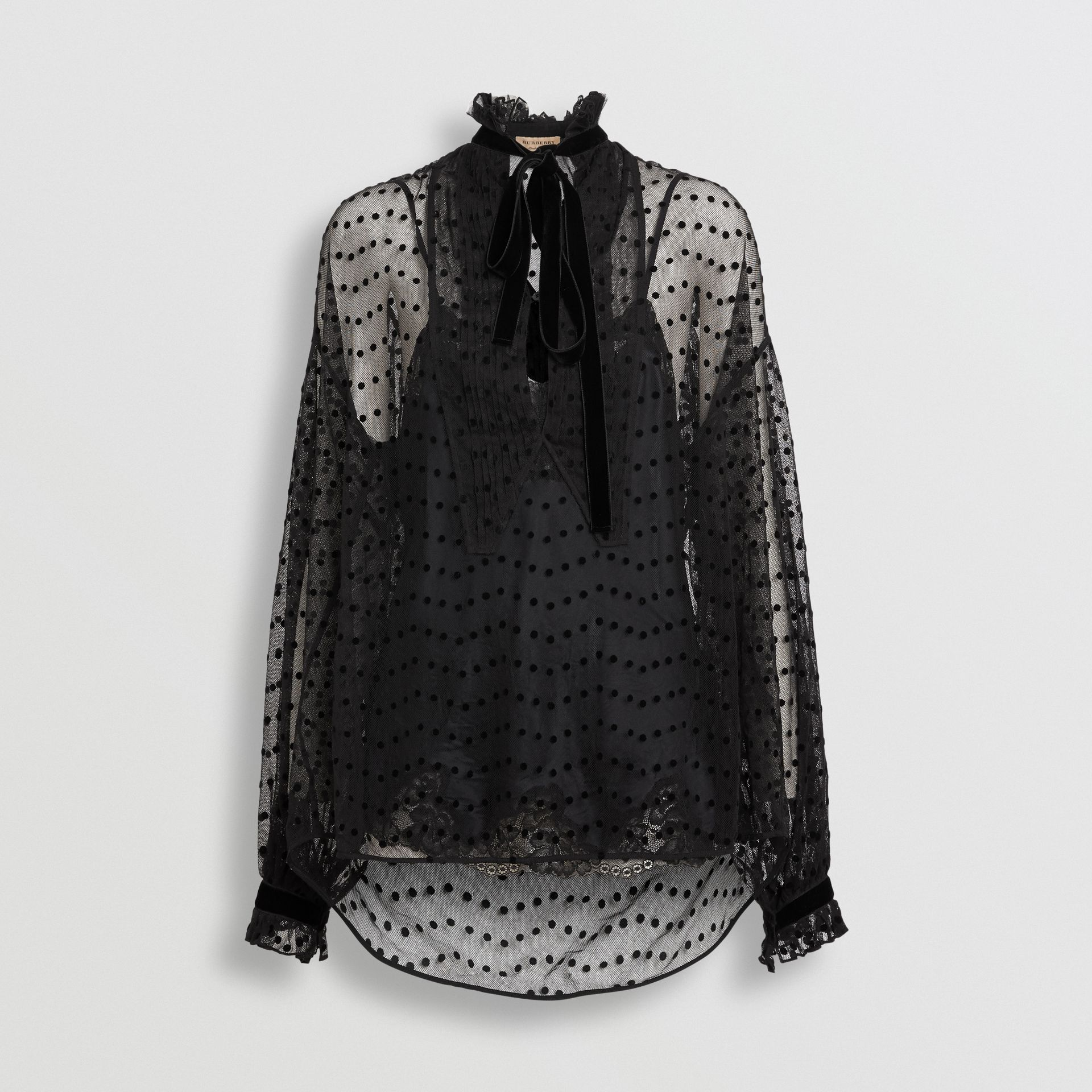 Polka-dot Flock Tulle Tie-neck Blouse in Black - Women | Burberry - gallery image 3