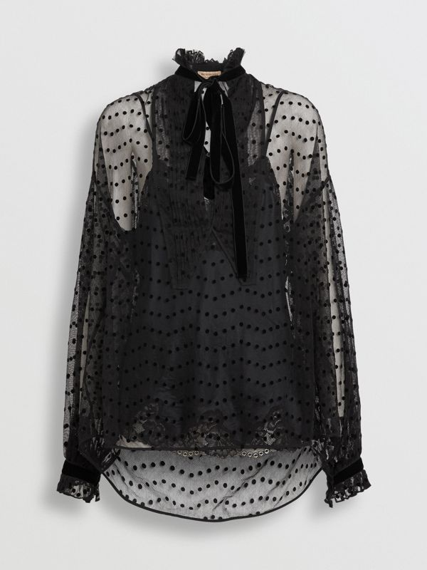 Polka-dot Flock Tulle Tie-neck Blouse in Black - Women | Burberry United Kingdom - cell image 3