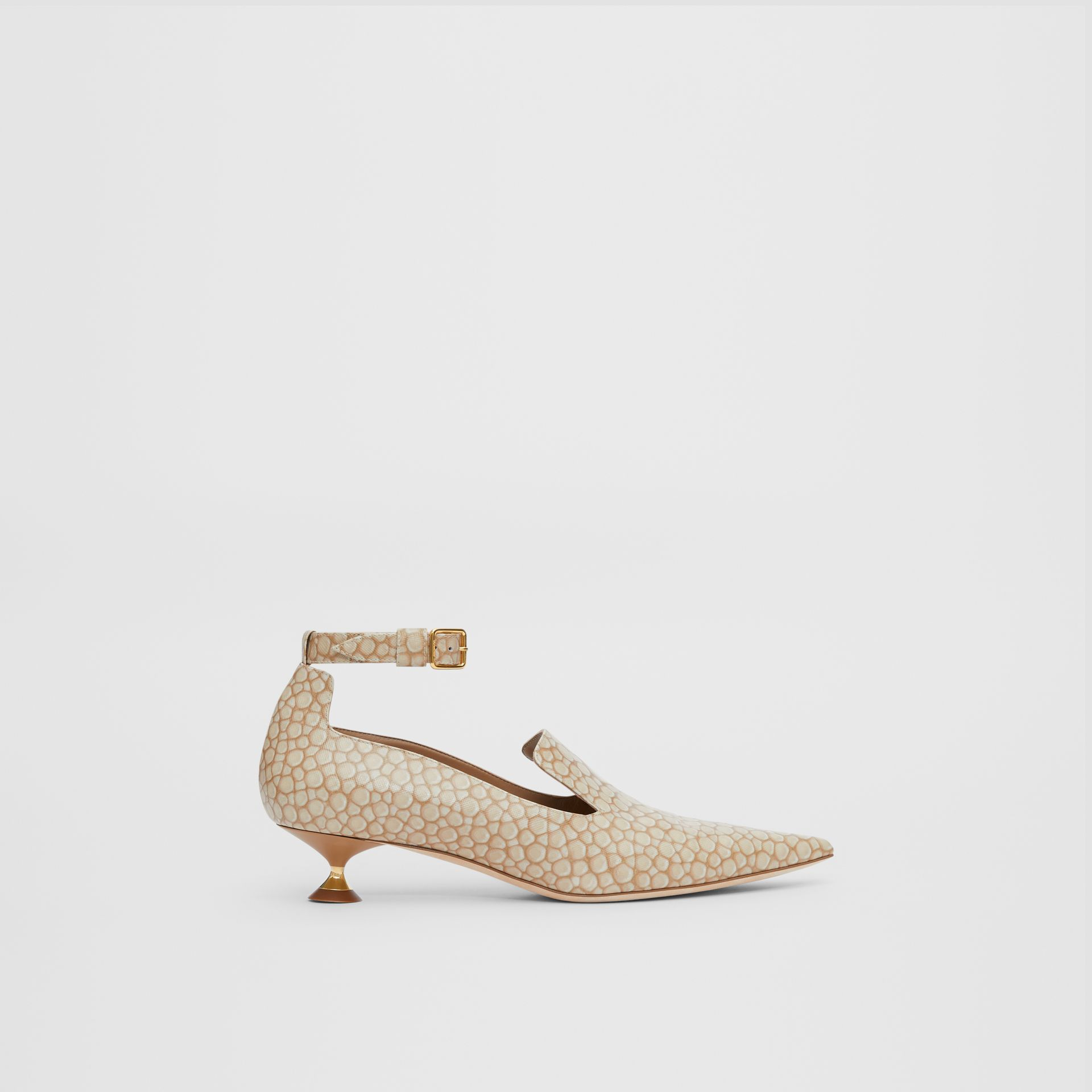 Stingray Print Leather Point-toe Kitten-heel Pumps in Nude - Women | Burberry - gallery image 4