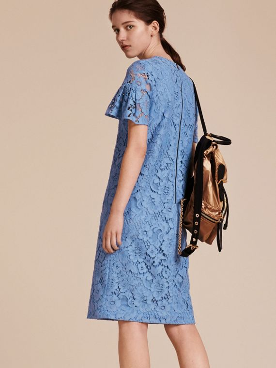 Macramé Lace Shift Dress with Ruffle Sleeves Cornflower - cell image 2