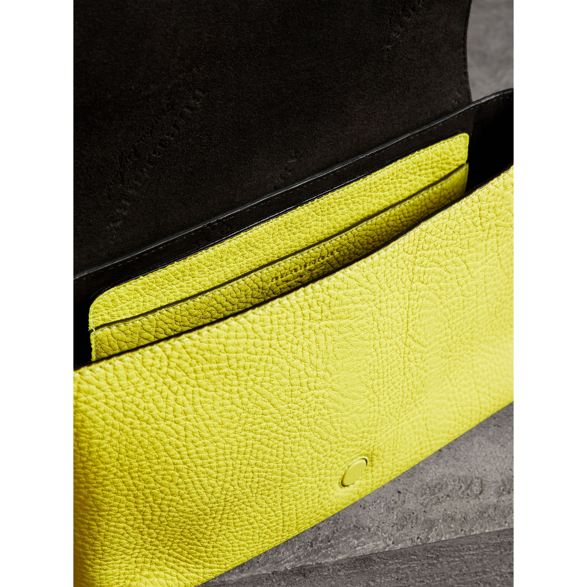 Small Embossed Neon Leather Messenger Bag in Yellow | Burberry - gallery image 3