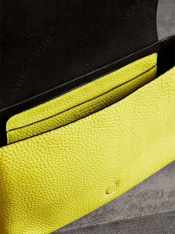 Small Embossed Neon Leather Messenger Bag in Yellow | Burberry - cell image 3
