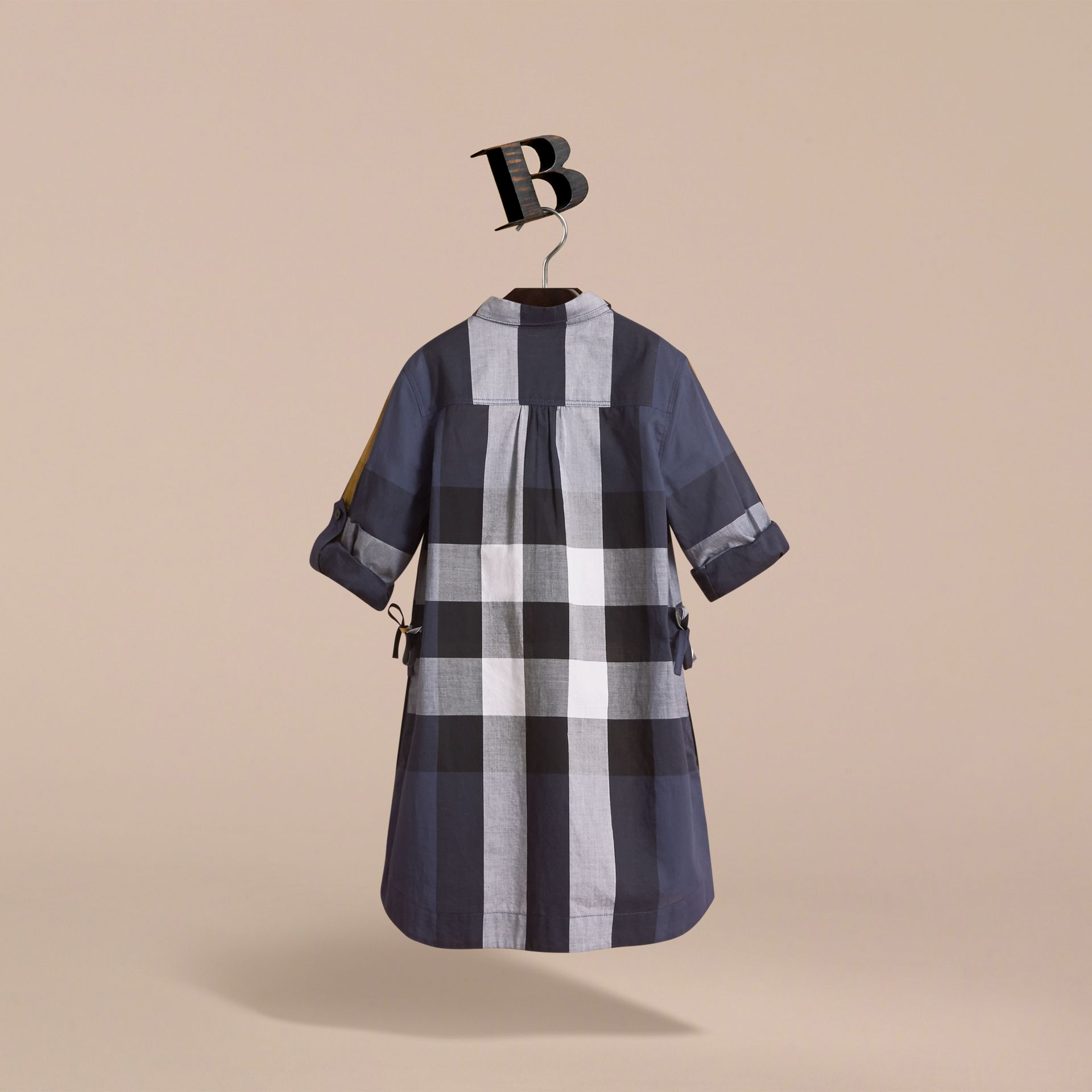 Check Cotton Shirt Dress in Pale Navy - Girl | Burberry Canada - gallery image 4