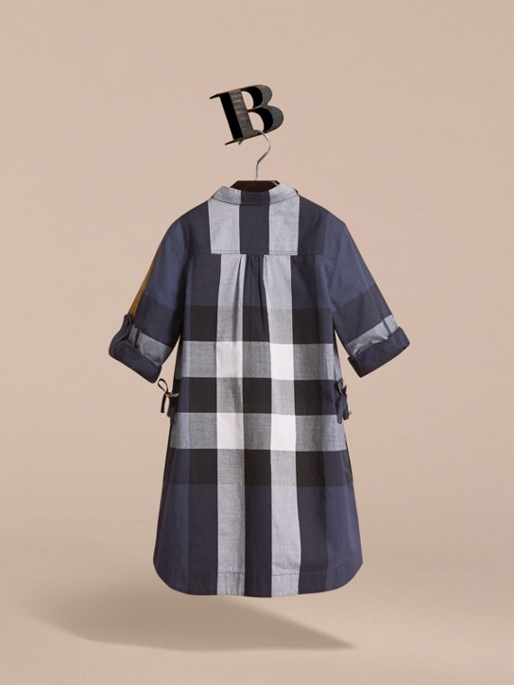 Check Cotton Shirt Dress in Pale Navy - Girl | Burberry - cell image 3