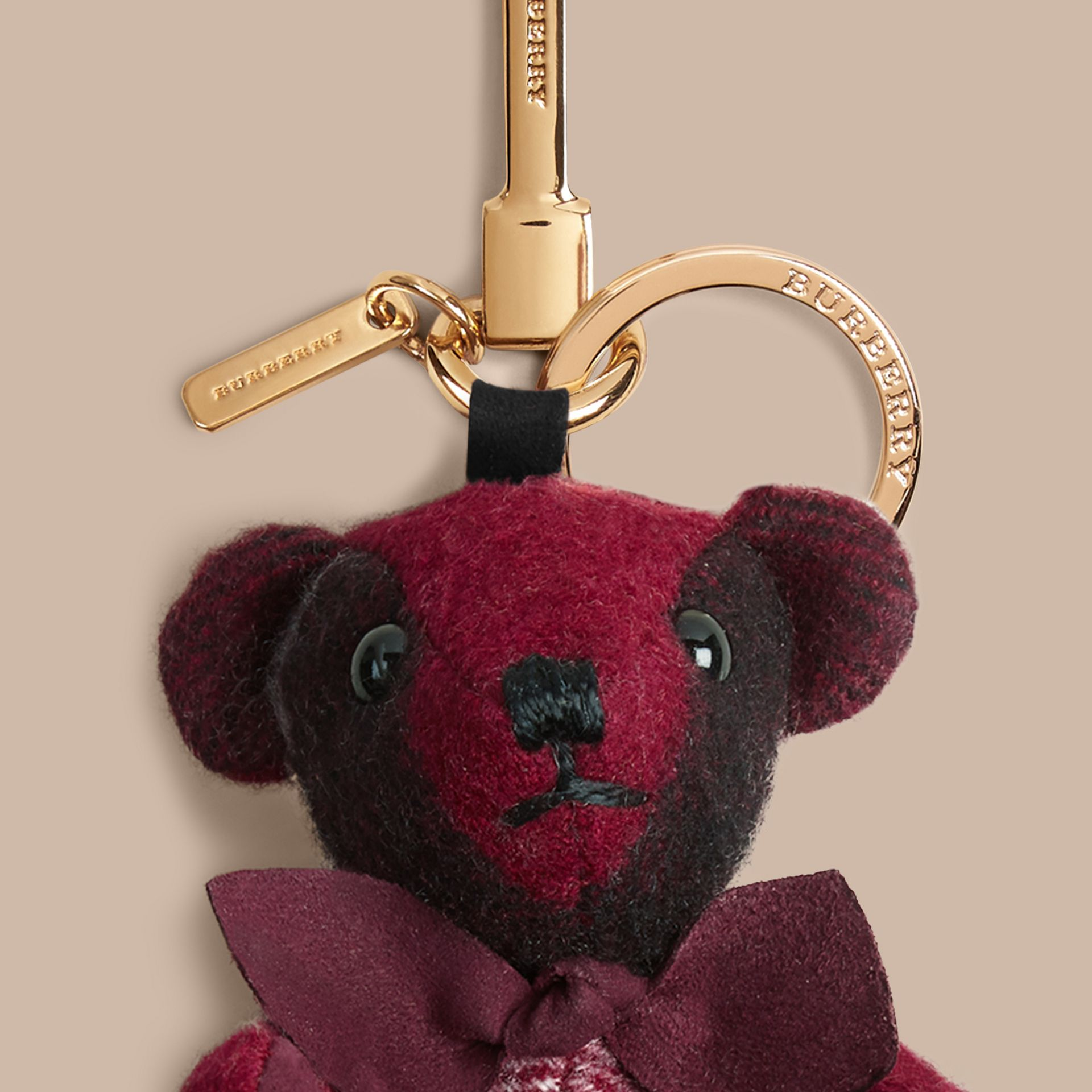 Thomas Bear Charm in Check Cashmere in Plum | Burberry Canada - gallery image 2