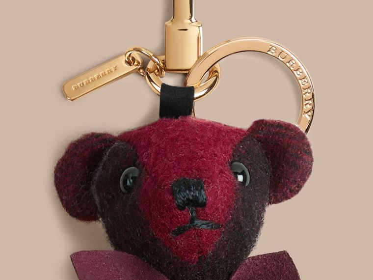 Thomas Bear Charm in Check Cashmere in Plum | Burberry - cell image 1