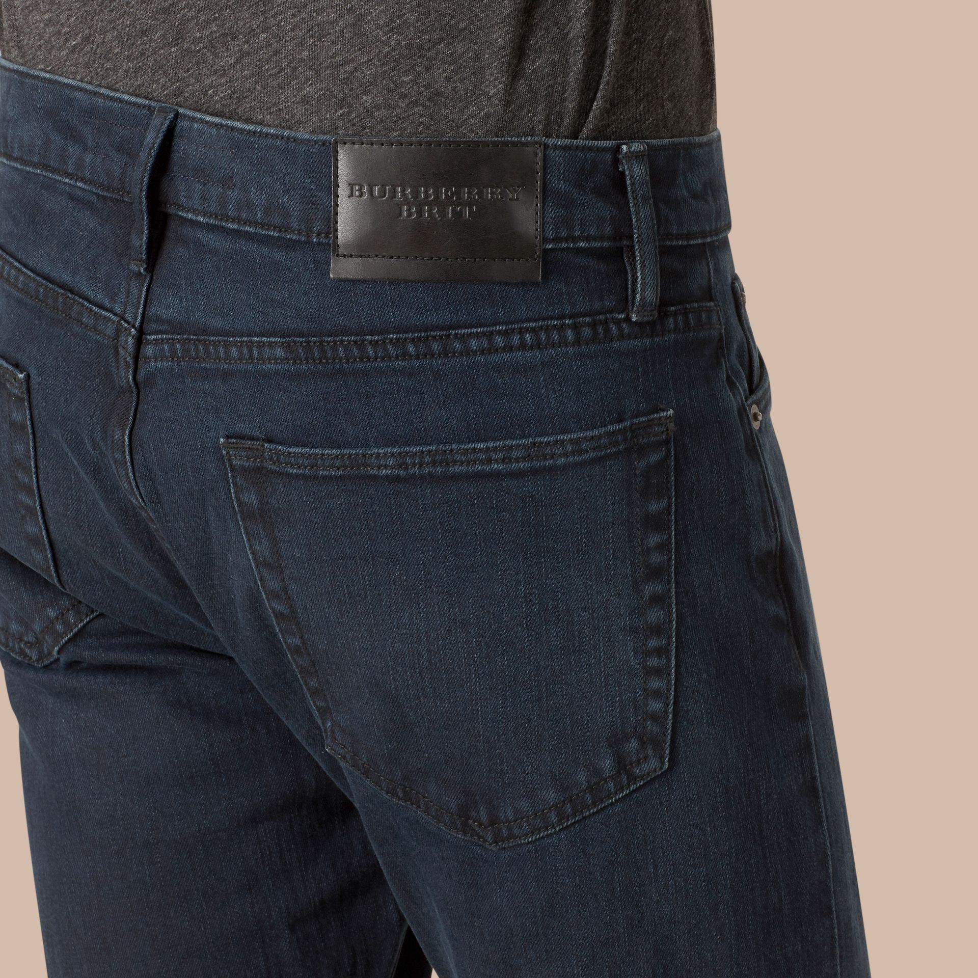 Straight Fit Indigo Stretch Jeans - Men | Burberry - gallery image 2