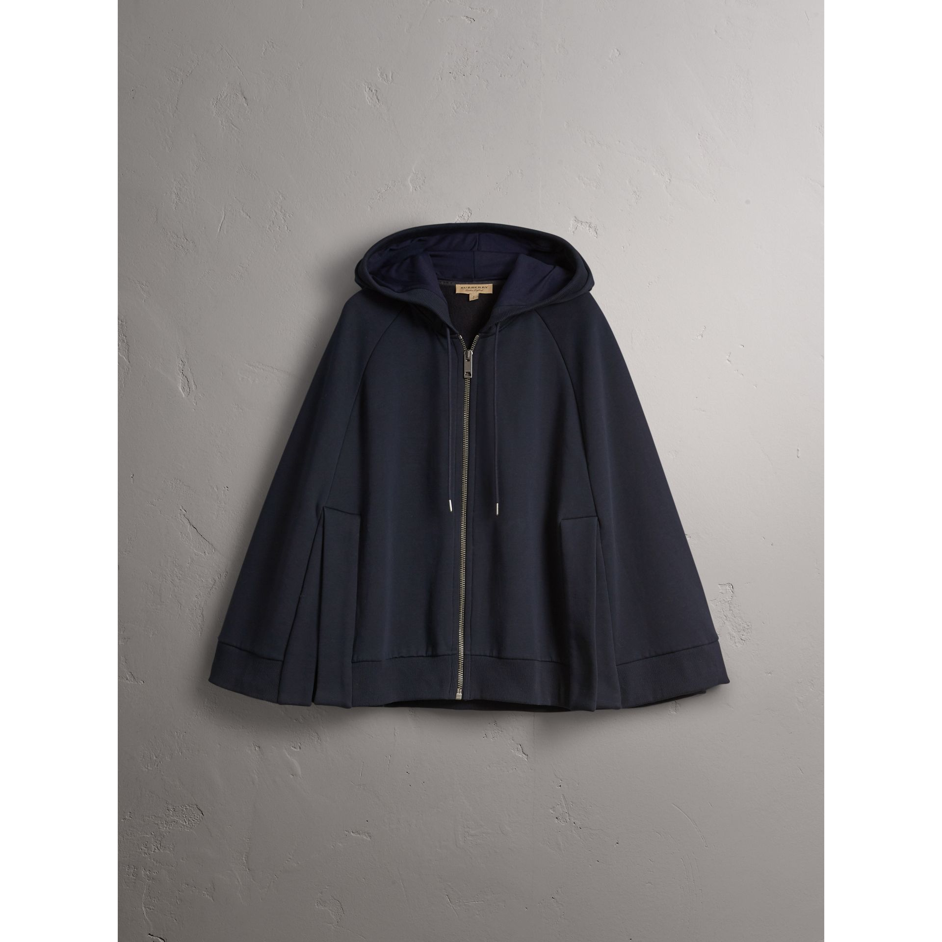 Jersey Hooded Cape in Navy - Women | Burberry - gallery image 4