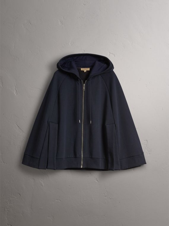 Jersey Hooded Cape in Navy - Women | Burberry - cell image 3