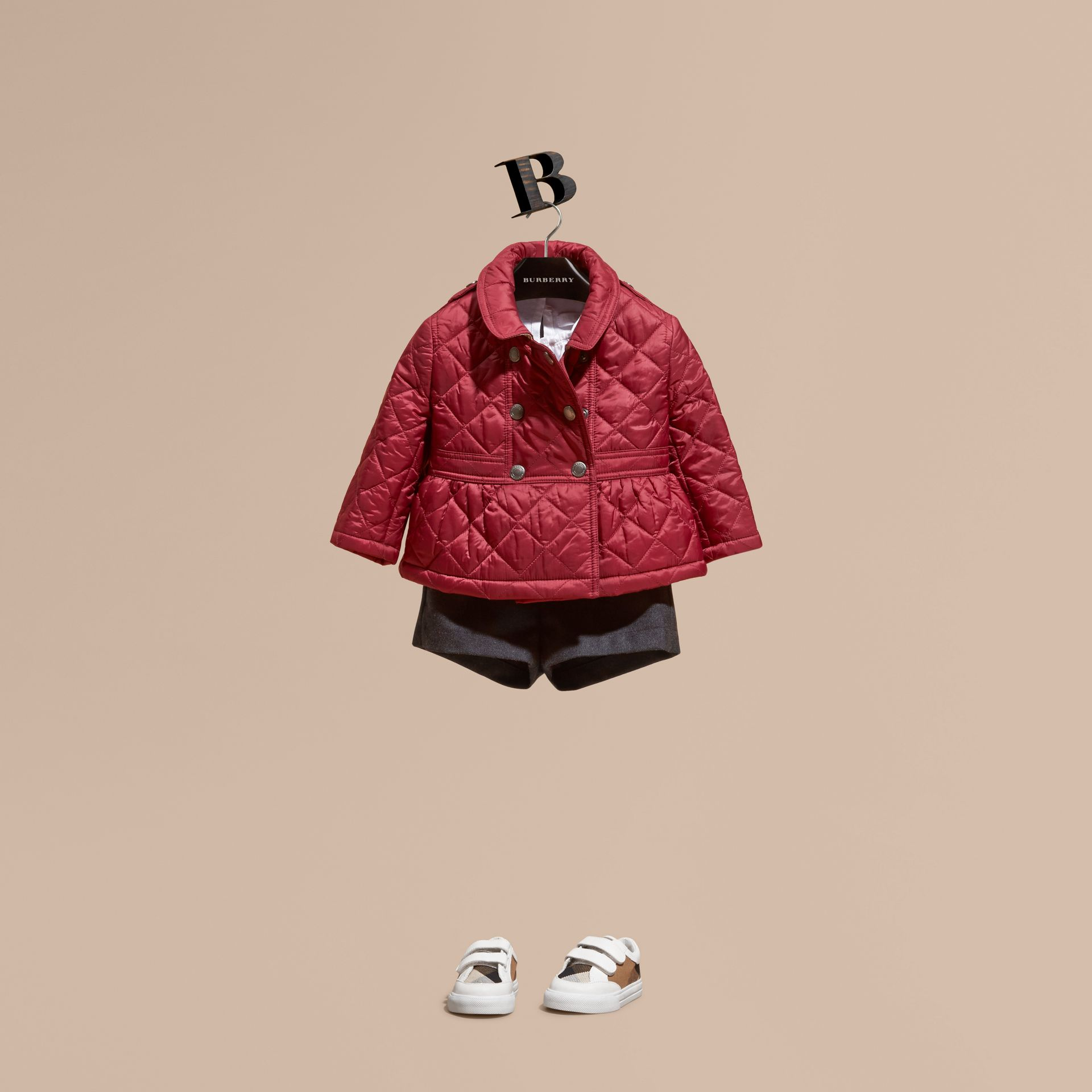 Dark plum pink Quilted Peplum Jacket - gallery image 1