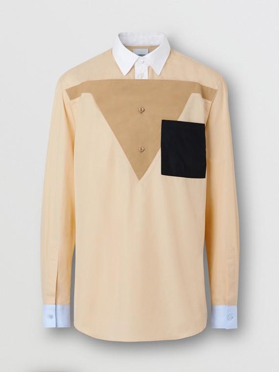 Classic Fit Pocket Detail Colour Block Cotton Shirt in Buttermilk