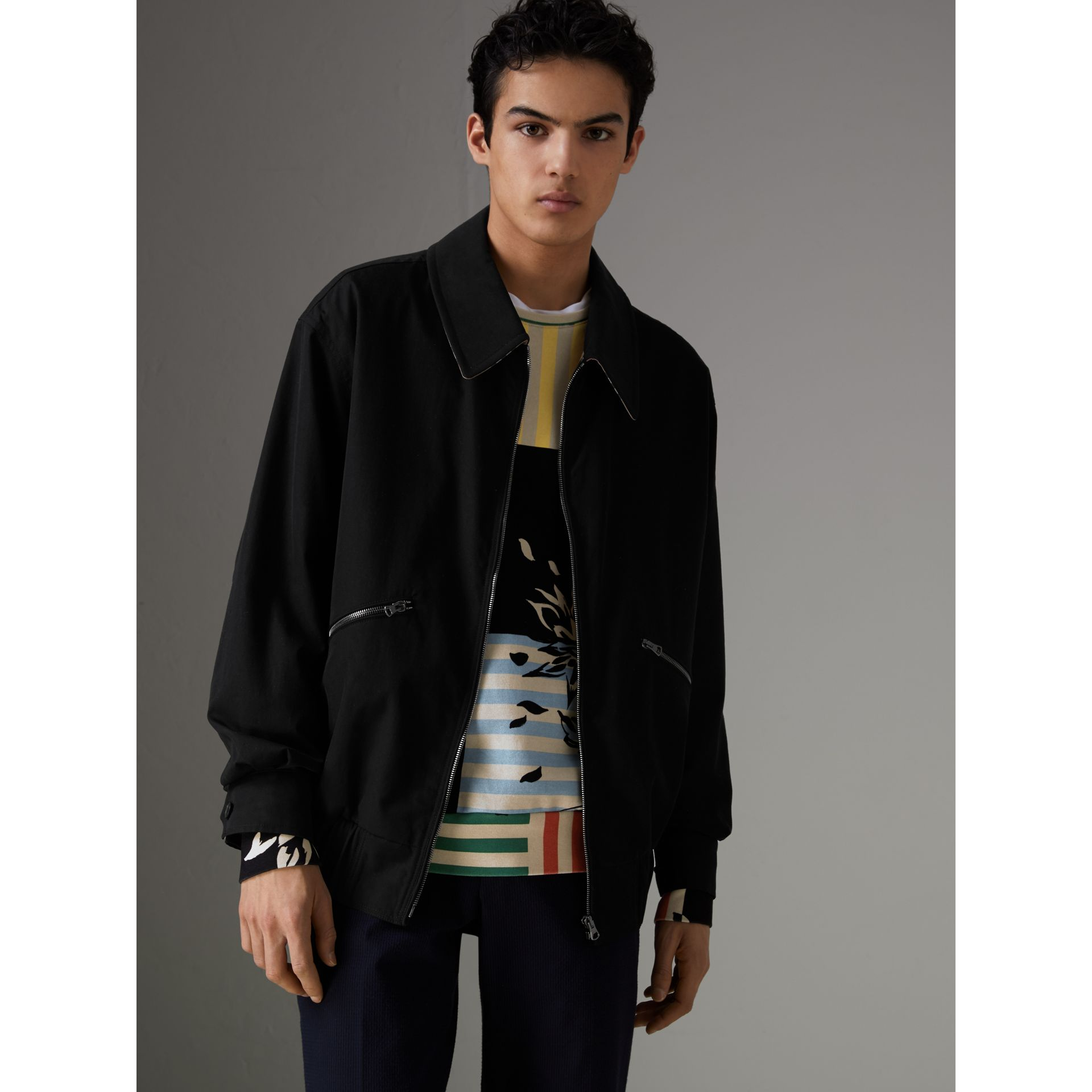 Tropical Gabardine Harrington Jacket in Black - Men | Burberry Australia - gallery image 5