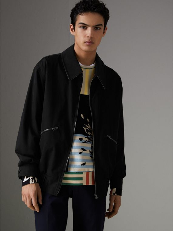 Tropical Gabardine Harrington Jacket in Black