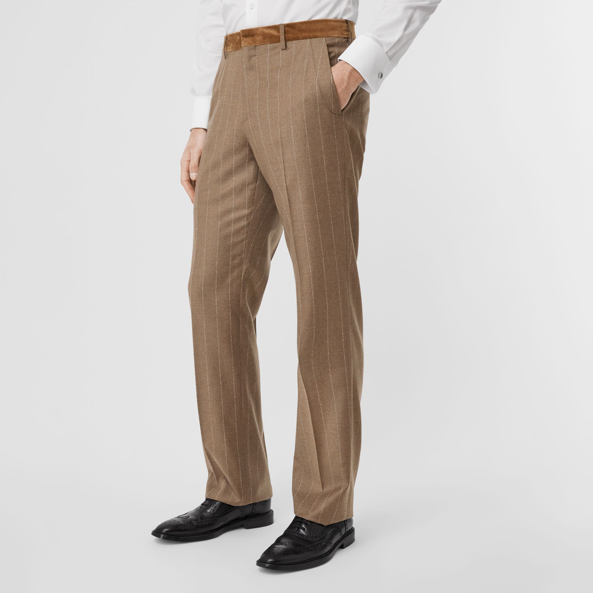Classic Fit Velvet Trim Wool Cashmere Trousers in Dark Tan - Men | Burberry Australia - gallery image 4