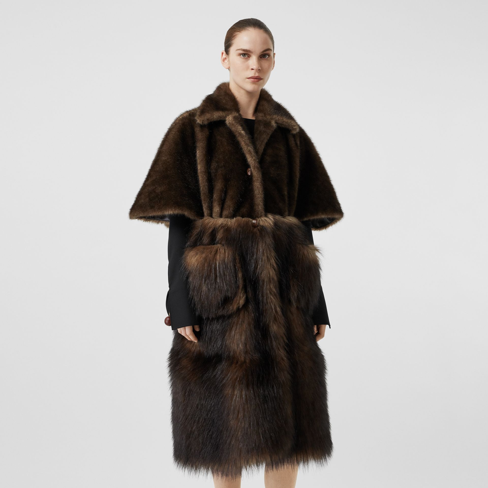 Faux Fur Cape Coat in Brown - Women | Burberry - gallery image 5