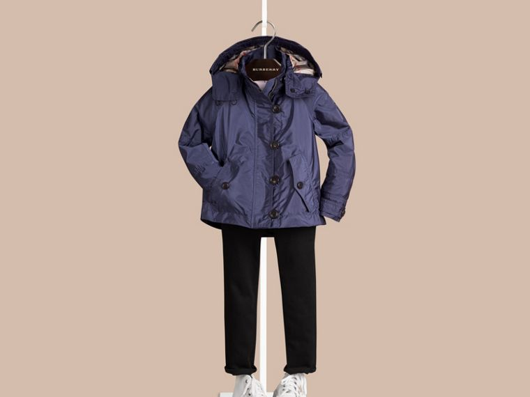Mid indigo Technical Jacket with Hood Mid Indigo - cell image 1
