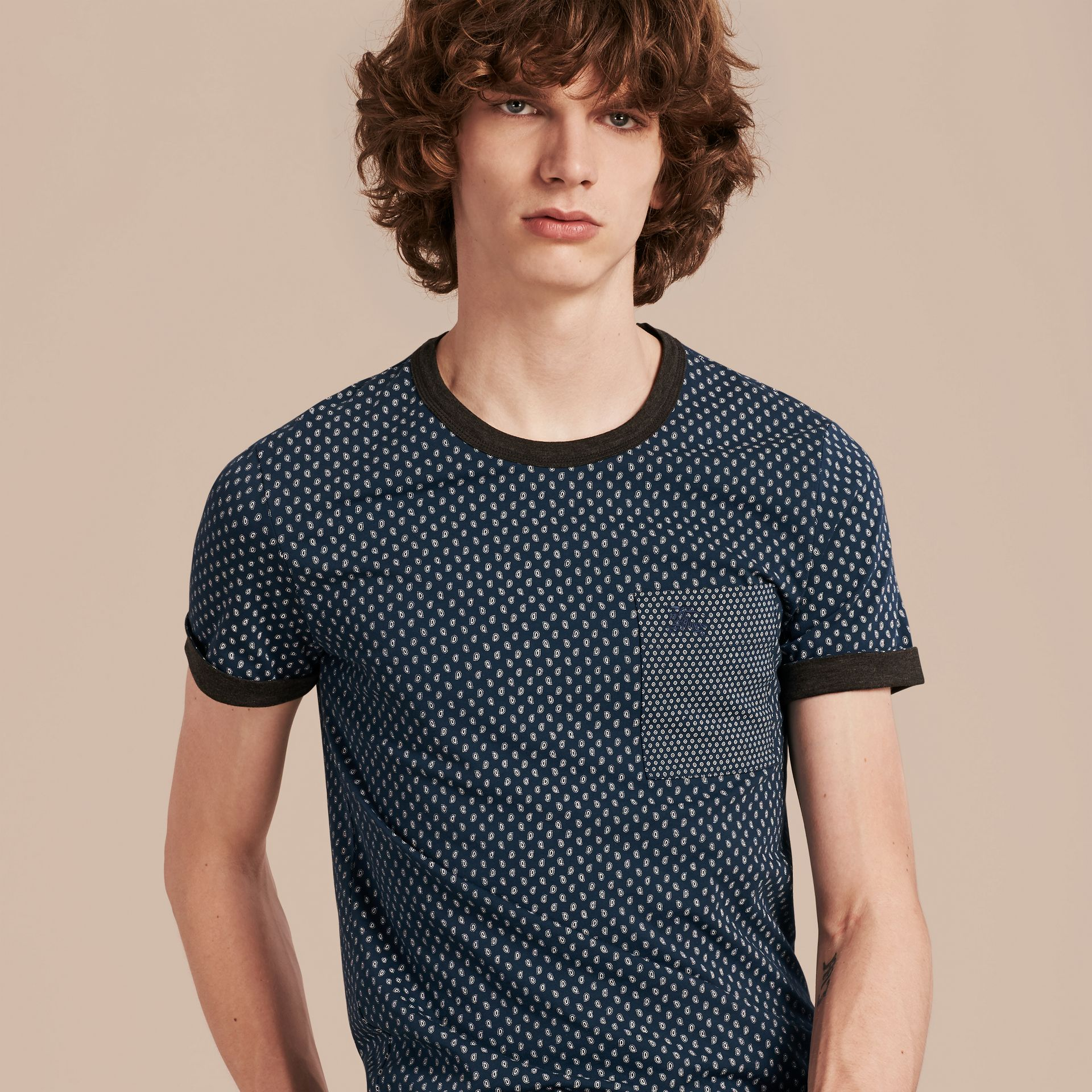 Mineral blue Paisley Cotton T-Shirt Mineral Blue - gallery image 5