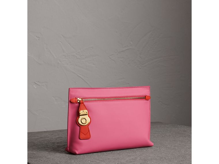 Two-tone Trench Leather Wristlet Pouch in Rose Pink - Women | Burberry - cell image 4