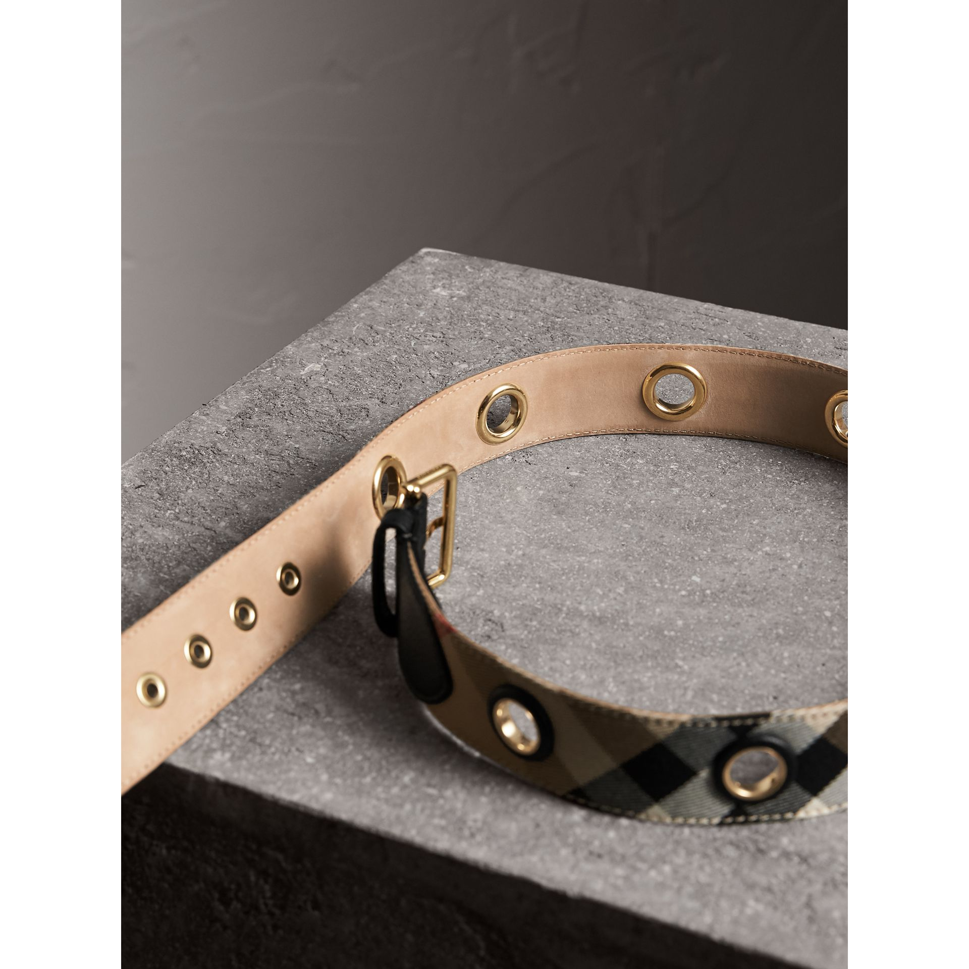 Eyelet Detail House Check Belt - Women | Burberry Australia - gallery image 3