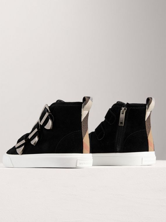 Buckle Detail Suede High-top Trainers in Black | Burberry - cell image 2