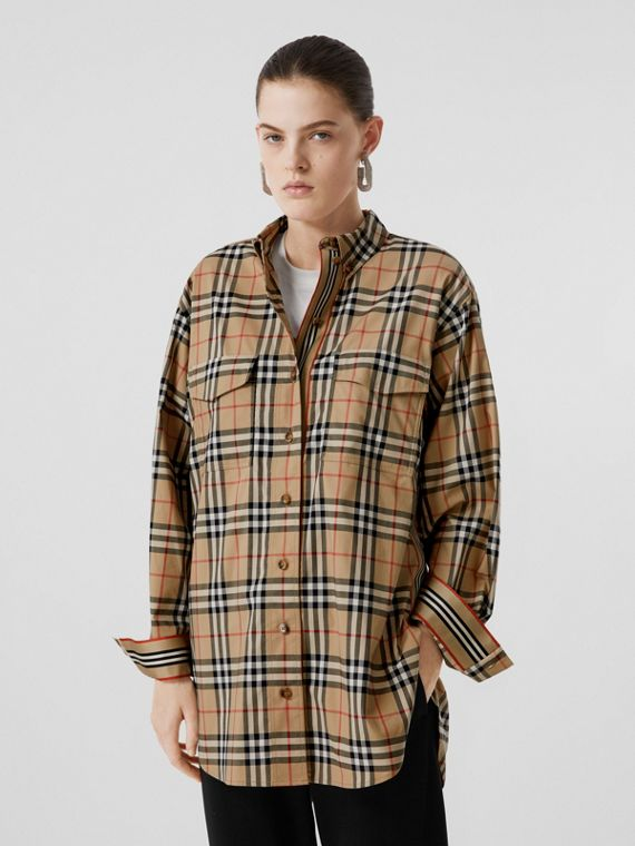 Vintage Check Stretch Cotton Oversized Shirt in Archive Beige