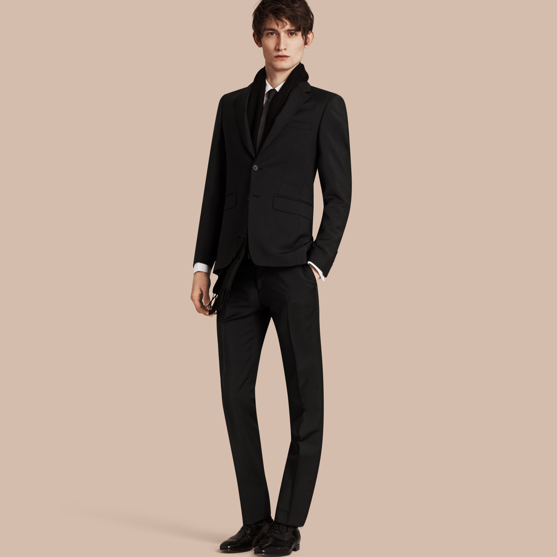 Black Slim Fit Wool Mohair Part-canvas Suit Black - gallery image 1