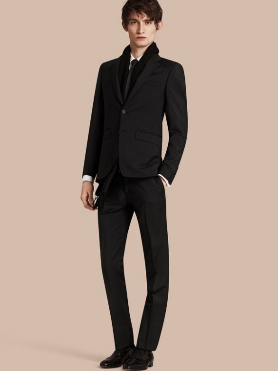 Slim Fit Wool Mohair Part-canvas Suit Black