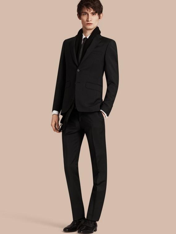 Slim Fit Wool Mohair Part-canvas Suit