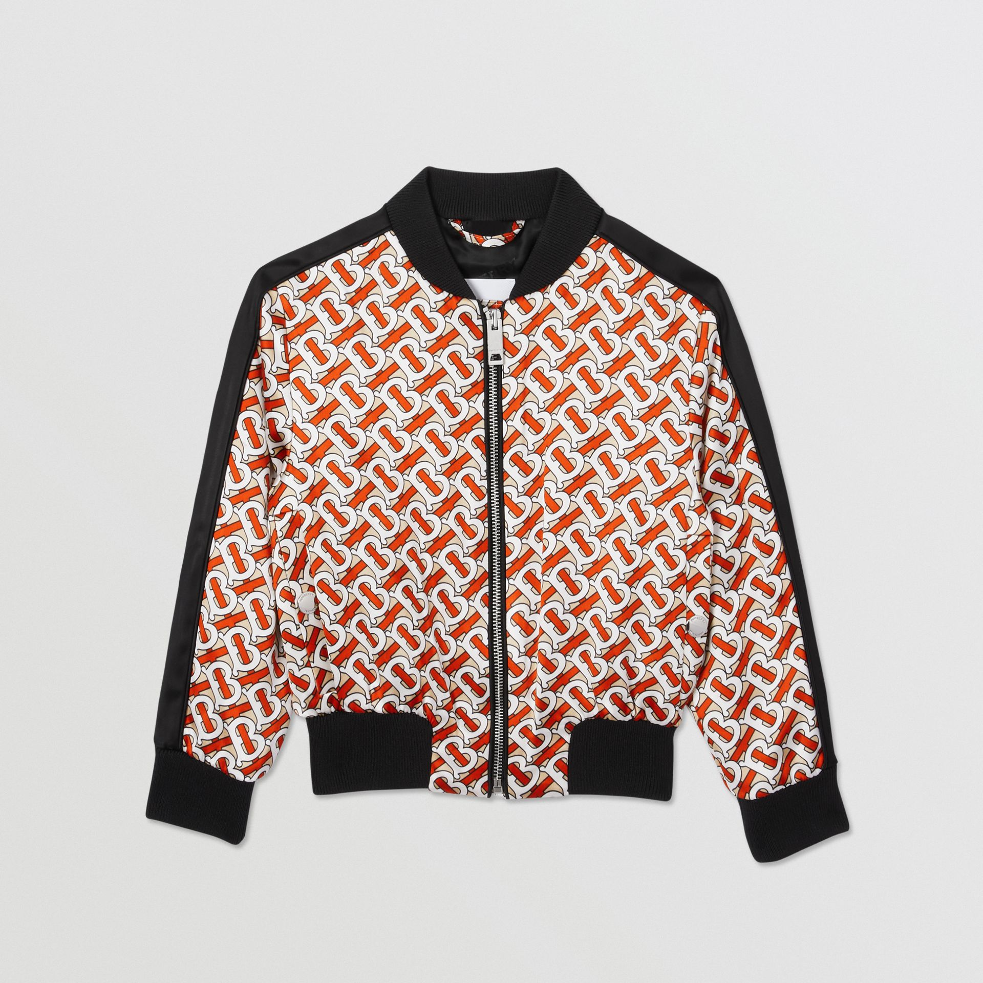 Monogram Print Satin Bomber Jacket in Vermilion Red | Burberry - gallery image 0