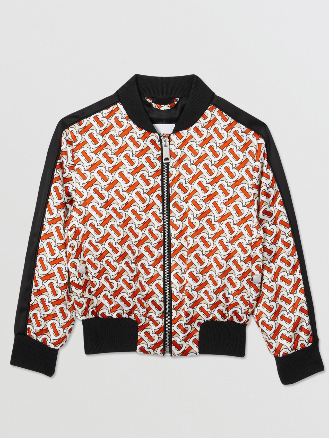 Monogram Print Satin Bomber Jacket in Vermilion Red