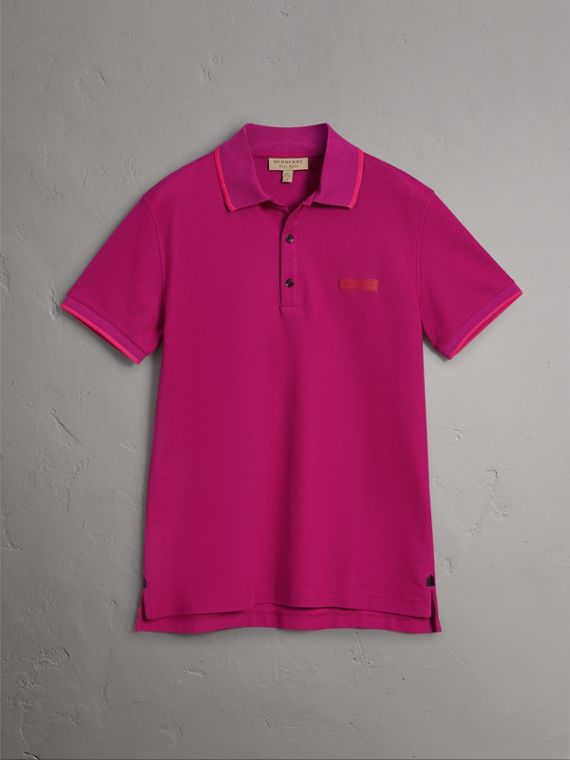 Cotton Piqué Polo Shirt in Bright Fuchsia
