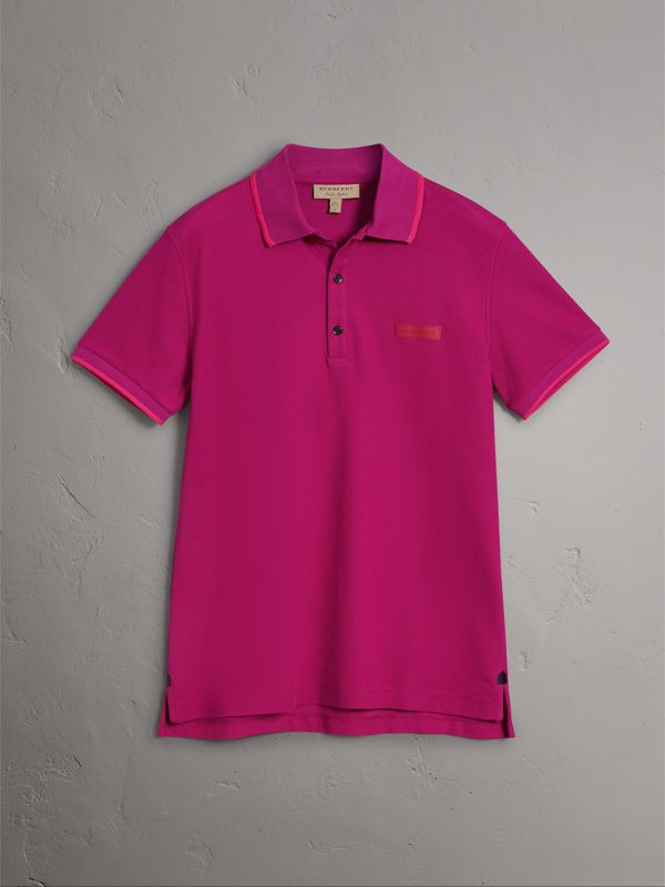 Cotton Piqué Polo Shirt in Bright Fuchsia - Men | Burberry - cell image 3