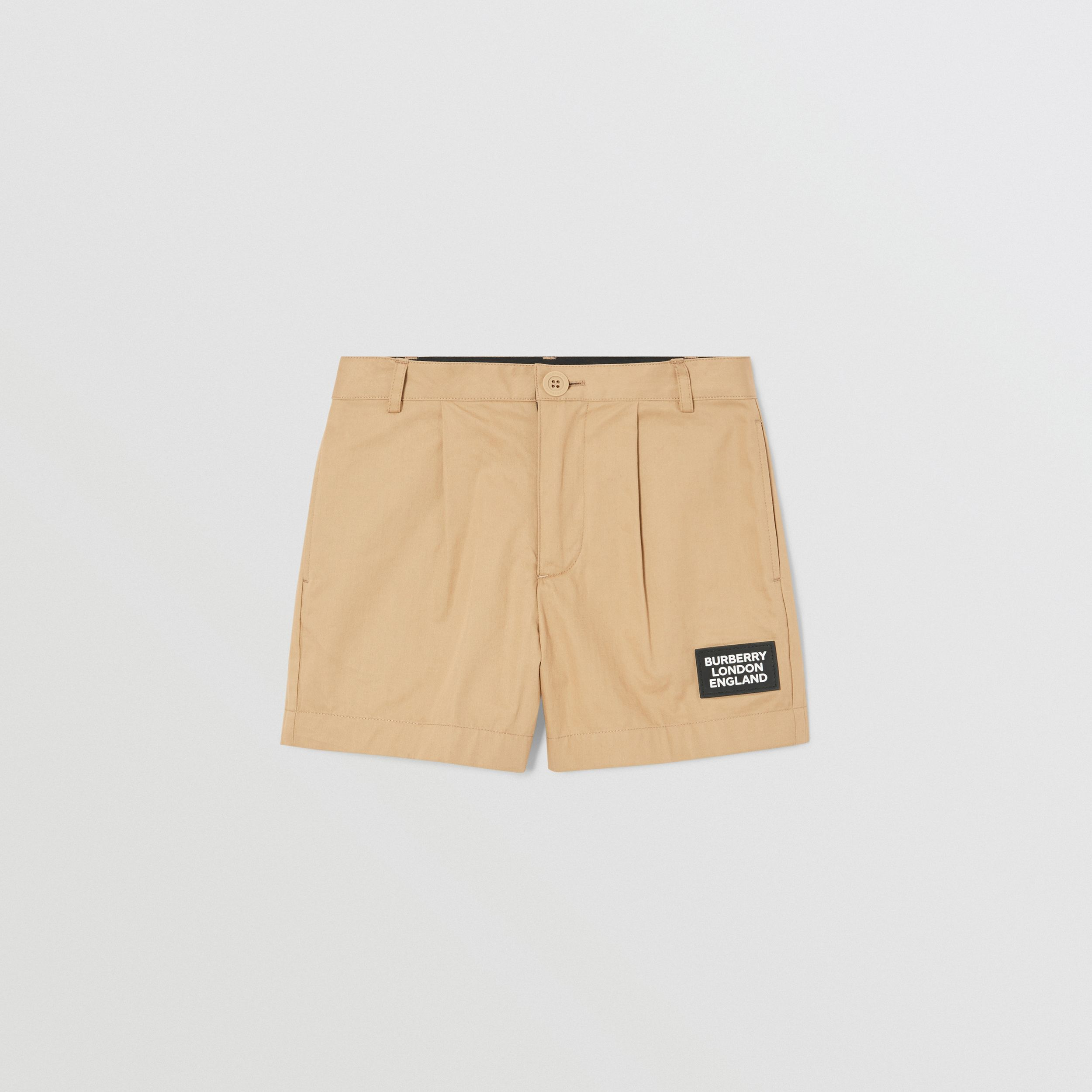 Logo Appliqué Cotton Twill Tailored Shorts in Archive Beige | Burberry - 1