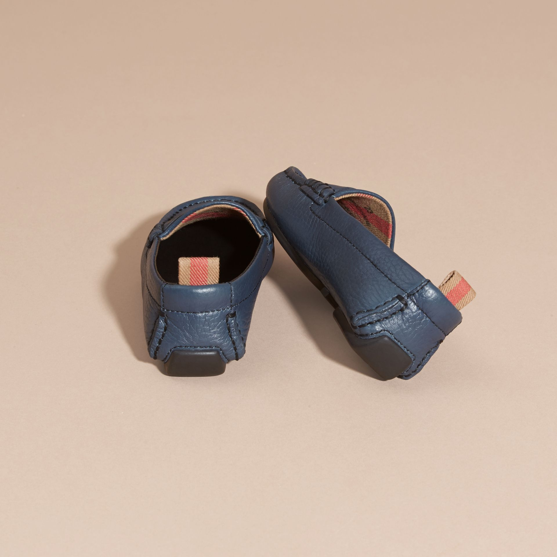Dark mineral blue Leather Loafers - gallery image 4