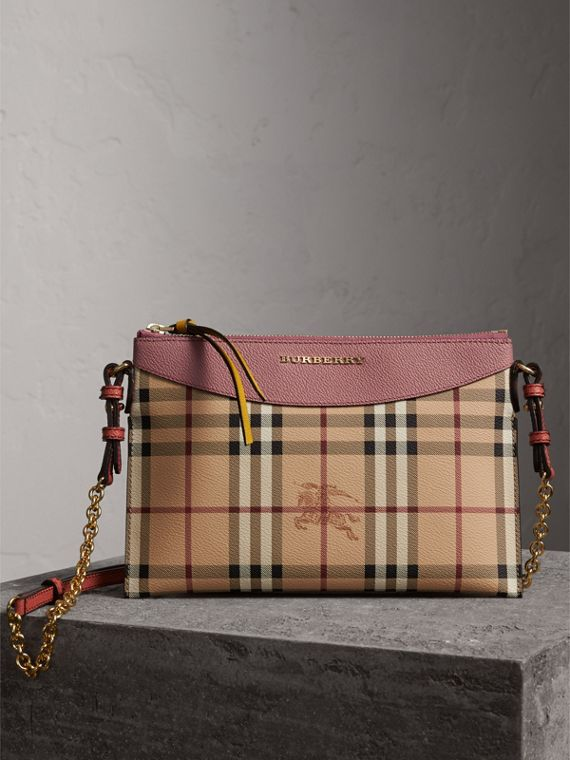 Haymarket Check and Two-tone Leather Clutch Bag in Dusty Pink/multicolour