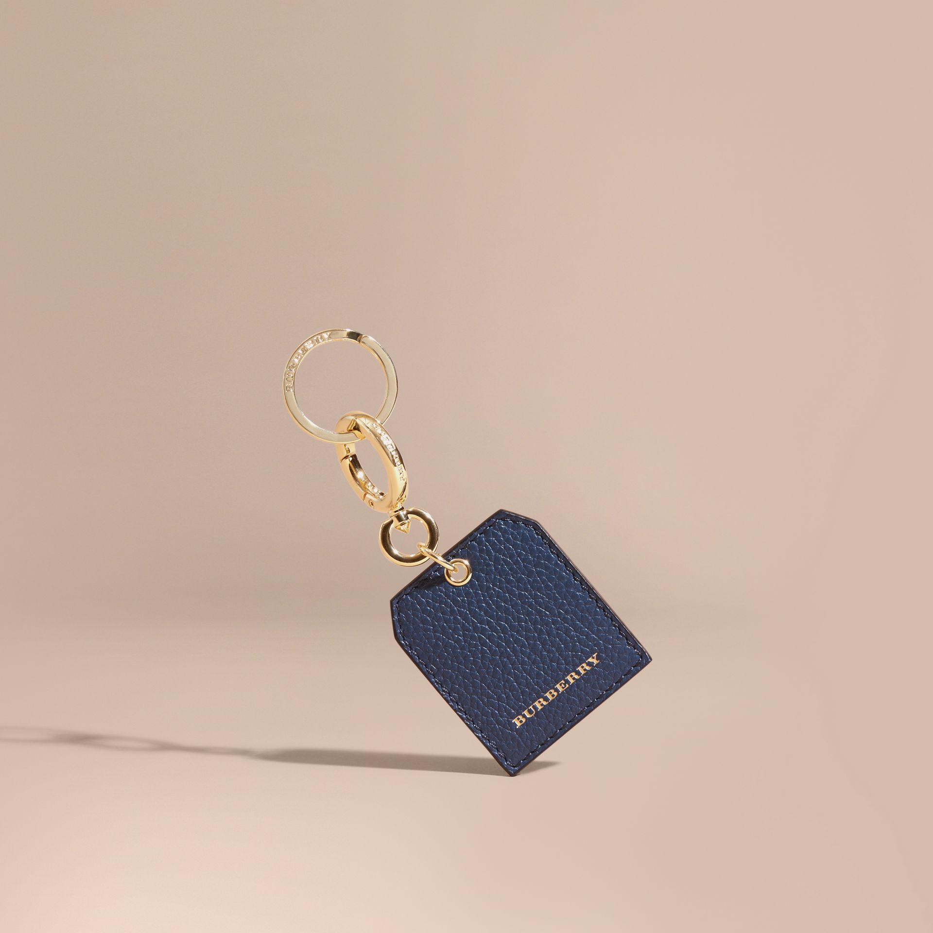 Grainy Leather Key Charm in Bright Navy - Women | Burberry Australia - gallery image 1