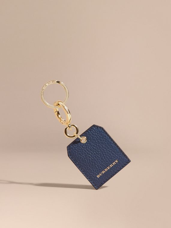 Grainy Leather Key Charm in Bright Navy
