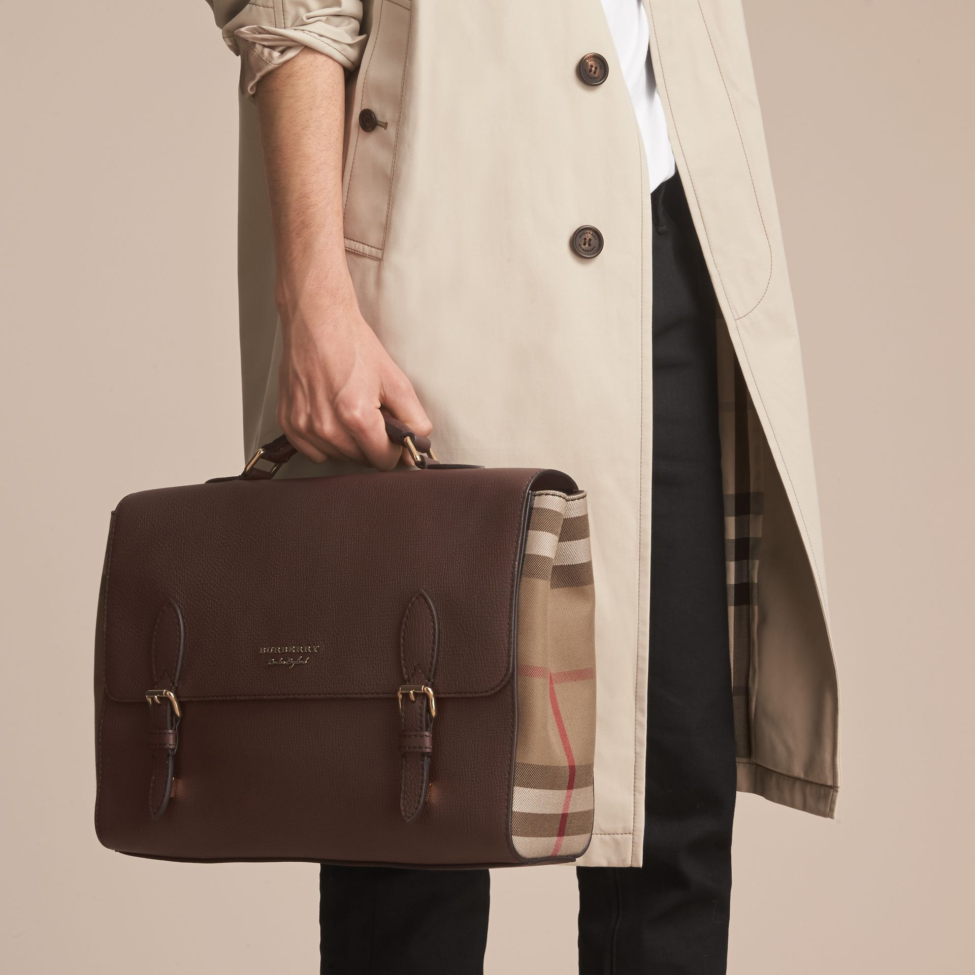 Leather and House Check Satchel in Oak Brown - Men | Burberry - gallery image 4